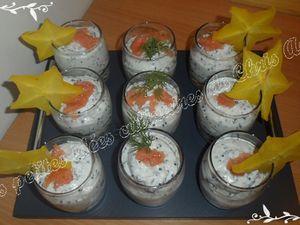 Verrines saumon fumé et œufs de lump