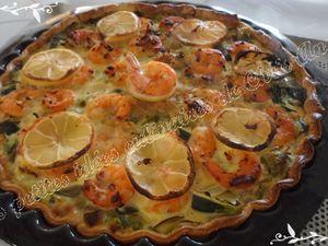 Quiche aux poireaux, crevettes et citron