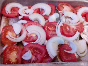 Mettez au fond du plat un filet d'huile d'olive puis les pommes de terre, les tomates , l'oignon , les rondelles de citrons
