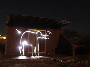 Light painting devant notre bungalow