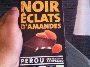 Charlotte fruits de la passion chocolat noir éclats d'amandes vanille  et éclats de brownies .