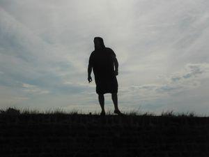 """Jusqu'à présent, personne ne l'avait vu, et pourtant, celui-ci nous attendait fermement sur la plage de """"la Falaise"""", et du haut de son perchoir, nous enjoignit de nous prosterner à ses pieds"""