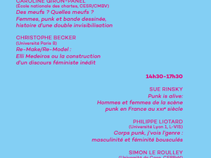 La septième journée d'étude approche: la scène punk en France, questions de genre. 15 octobre 2016 au centre Barbara Fleury.