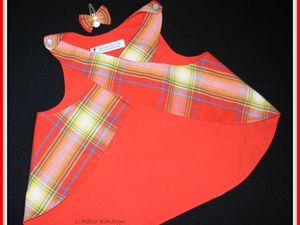 18.04.2014 - Robe tablier croisé en coton madras rouge et son petit clip-noeud à cheveux - 2/3 ans.