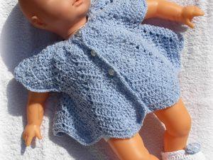"""31.08.2014 - Petit ensemble """"Bébé Préma N°2"""" robe et chaussons au crochet."""