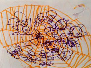 Toiles d'araignées d'halloween, réalisé par un enfant de 3 ans et demi