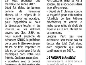 Tribune des Élus du Cap Leucate - Février 2017: Encore un grand moment!