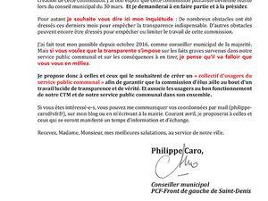 La majorité municipale verrouille la commission pluraliste sur le CTM de Saint-Denis que je demande depuis novembre 2016