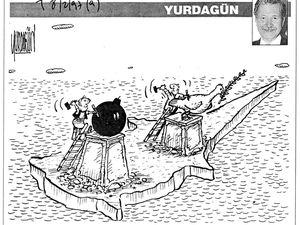 Dessins de Yurdagün, Türkiye. A gauche, 8 février 1997. A droite, 5 août 1997.