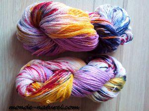 laine mérinos teintée : multicolore, reflets....