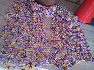 créations réalisées avec la laine que j'ai teint.