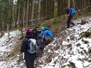 Une bonne descente assez raide vers le Barembach. On aide comme on peut ceux qui sont un peu moins à l'aise.