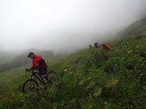 la pente s'accentue dans Lorenzitali, nous naviguons entre hautes herbes et ravines, les passages sont souvent difficiles, une partie d'entre nous pousse plus qu'elle ne roule.