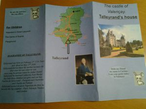 The brochure about the Castle of Valençay, house of Talleyrand.