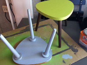 Mes tables tripode relookées