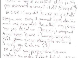 Lettre appel au secours au centre social de Bouffémont