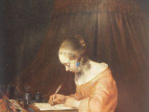 La lettre interrompue de J. Vermeer, en miroir avec deux tableaux de G.Borch et F.van Mieris