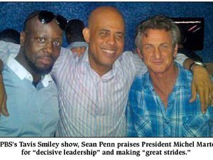 1-Wyclef, Martelly, Sean Penn. 2- Lamothe, Penn à l'inauguration de l'Hôtel Marriot de O'Brien
