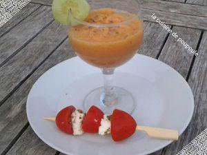 Soupe de melon et tomate glacé au thermomix