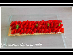Tarte aux fraises gariguettes rectangulaire au thermomix ou sans