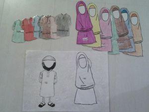 jours de la semaine arabe/français.(chaque jours l'enfant doit changer les vêtements des personnages.)
