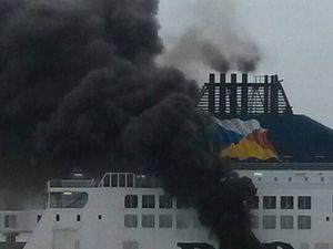 Incendie dans la salle des machines du ferry Pride of Canterbury - photo : F Henot