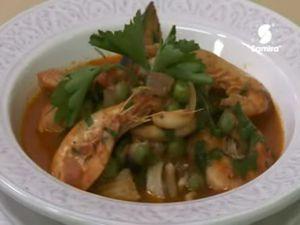 Menu Samira tv, Algérie - Soupe à l'écrevisse + Tadjine de poissons aux petits pois