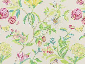 Tissus Botanica coloris pivoine et Indonesia coloris pivoine