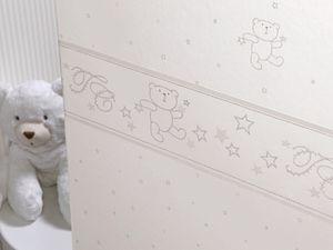 Papier peint Oursons et étoiles 12091909 et Rayure T&C coloris gris 12063009