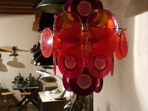 DISPONIBLE. 350€. Lustre VISTOSI. Design Italien. 26 pastilles colorées.