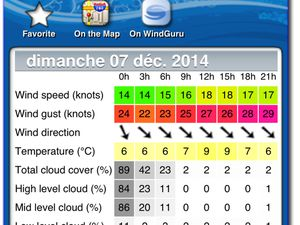 Application utile en Kitesurf, pour les prévisions du vent en France.