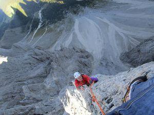 Les Torri Vajolet dans le Trentino dont nous ferons en enchainement, les deux de gauche.