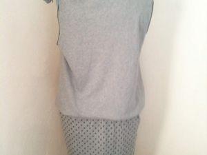 Robe à nœud - jersey de coton à étoiles pour le bas et uni pour le haut (réversible)