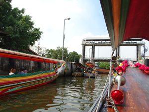 Le passage d'une écluse entre la rivière et les Khlong.
