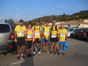 les 7 coureurs du LIEVRE ET LA TORTUE lors du trail de Jouques