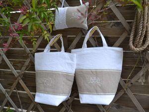 Modèles broderies trouvées sur le net, draps de coton ancien et lin naturel, broderie anglaise, ruban de satin...