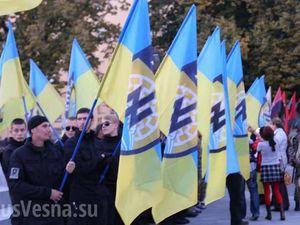 Mardi 14 octobre 2014.Une marche nazie se tient actuellement à Kharkov en mémoire des &quot&#x3B;héros&quot&#x3B; d'OUN-UPA
