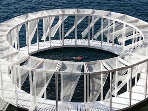 AntiRoom II is a circular wooden meditation space floating off the coast of Malta
