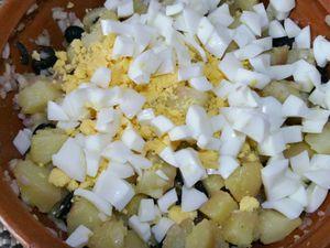 4 - Une fois les oeufs cuits, les écaler, émietter les jaunes et couper les blancs en petits dés. Verser le tout dans le saladier et remuer délicatement. Rectifier l'assaisonnement.