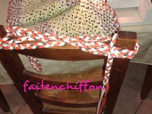 Confection d' un tapis en tresses de trapilho cousues à la machine