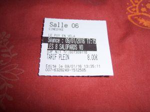 Le ticket après et avant la scéance.