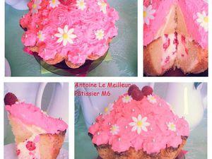 Cupcake géant framboise-citron