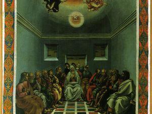 Lucas Signorelli - Gonfalon  - 1474 - huiles sur toile 156x104cm  - Bannière destinée aux processions peinte sur deux faces (crucifixion et descente du Saint Esprit) il fut divisé en deux panneaux en 1775.