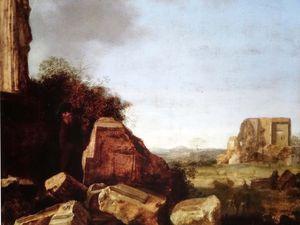 Salvator Rosa (1615-1673) Paysage de ruines avec une scène pastorale - vers 1621-1623, huile sur bois, 39x31,3cm Ariccia, Palazzo Chigi, collection Ferrari
