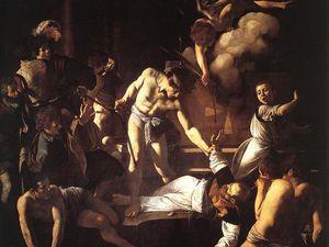 Caravage - Le Martyre de saint Matthieu - 1599-1600 - huile sur toile 323x343 - Rome -Eglise Saint-Louis-des-Français. Détail - Au fond en haut à gauche du tableau autoportrait de Caravage