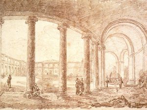 Le Temple de La Sibylle à Tivoli ,1762 - La Cour de la villa Giulia ,1762 - La Villa Madame, 1761/6 -  Escalier menant au portique de Vignole, 1762 -