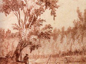 Bord de rivière, 1772/74 - La Vieille Hutte sous les grands arbres, 1763 - Bustes romains dans un parc, 1763 - La Fuite de Galatée, 1780