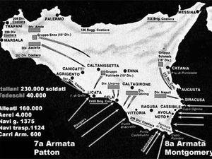 cartina dello sbarco alleato in Sicilia