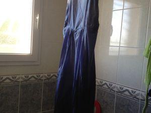 Combi sarouel en lin teinte façon tie and dye bleu
