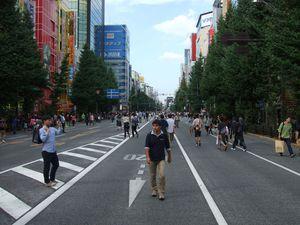 Un quartier gigantesque, aux rues énormes et emplies de piétons. Sans doute est-ce parce que nous sommes Dimanche, mais les routes sont barrées.